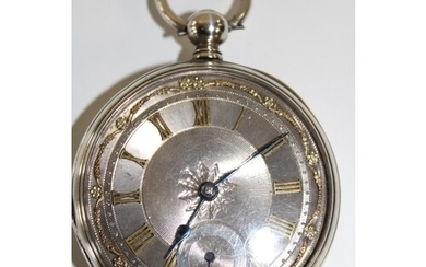 A fine silver pocket watch with a silvered dial (needs attn)
