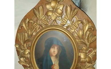 A good 19th Century coloured Print of The Madonna.