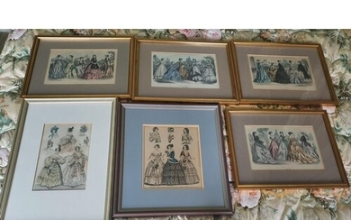 A good quantity of 19th Century hand coloured French Fashion...