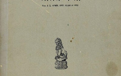 A group of ten journals on Classical Indian Art published by Lalit Kala Akademi, Lucknow, India comprising Lalit Kala Nos. 1-2 (April 1955 - March 1956); Lalit Kala No. 5 (April 1959); Lalit Kala No. 6 (October 1959); Lalit Kala No. 7 (April 1960);...