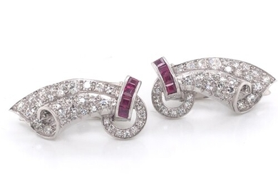A pair of Art Deco diamond and ruby earrings set in platinum...