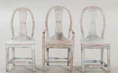 A set of three different chairs 19th century