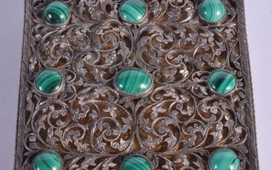 AN EARLY 20TH CENTURY CHINESE SILVER AND MALACHITE COMPACT. ...