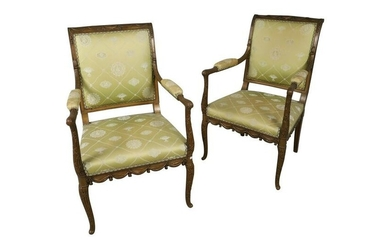 Adams Style Draped Carved Arm Chairs - Pair