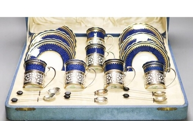 An Aynsley cased silver mounted coffee set