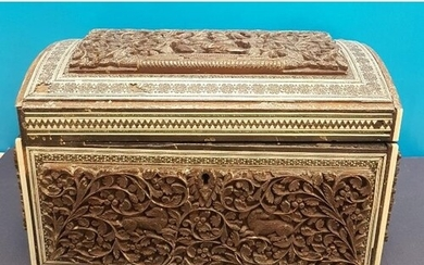 Anglo Indian Carved Sandalwood and Sadeli Double Tea Caddy 1...