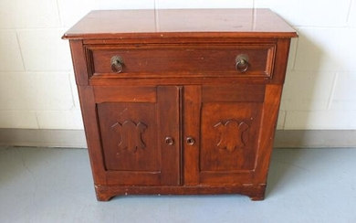 Antique Carved Victorian Style Cupboard. Single drawer
