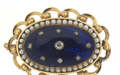 Antique unmarked gold, diamond, seed pearl and blue enamel b...