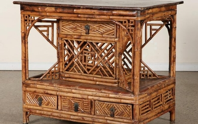 BAMBOO MAHOGANY 19TH CENT. CONSOLE TABLE