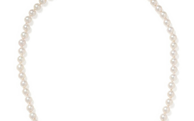CULTURED PEARL, DIAMOND AND GREEN TOURMALINE NECKLACE