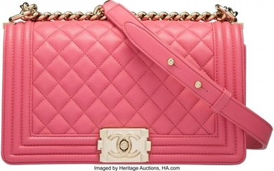 Chanel Pink Quilted Calfskin Leather Medium Boy