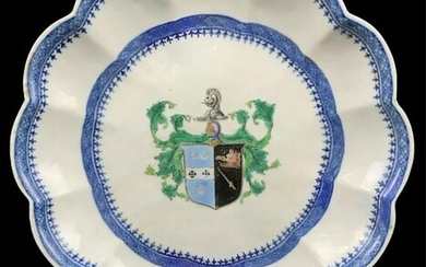 Chinese Armorial Scalloped Charger, Blue White