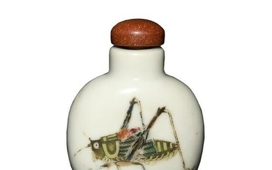 Chinese Famille Rose Cricket Snuff Bottle, Daoguang