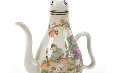 Chinese porcelain teapot hand painted in the famille rose pa...