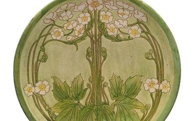 Della Robbia (British 1894-1906), a sgrafitto decorated plate by Charles Collis, c.1900, incised pottery marks and 'C', 512, painted monogram possibly for Alice Louise Jones, faintly painted 'Munro', Slip and sgrafitto decorated with flowers on...