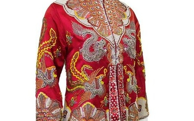 Dynasty Red Dragon and Phoenix Beaded Jacket