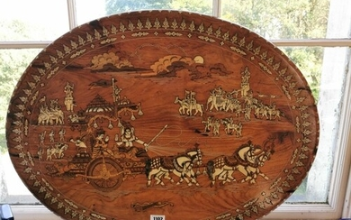 Early 20th C. Italian rosewood wall plaque inlaid with mothe...