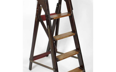 Early 20th century mahogany step ladders, together with a mahogany desk-top stationary rack and hand painted armorial crest.