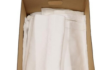 Eight Assorted White Linen Damask Table Cloths, mainly in fern...