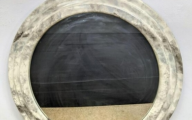 Faux Marble Painted Framed Round Wall Mirror. Modernist