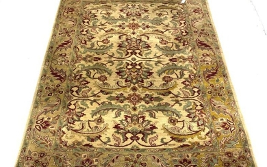 Fawn ground thick pile wool rug, the central field...