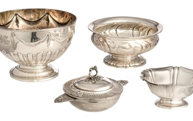 Four various French, English & German silver bowls, 19th-20thC, H 7,6 - 9,8 - 10,1 - 14,5 cm, total weight silver c. 1.445 g.