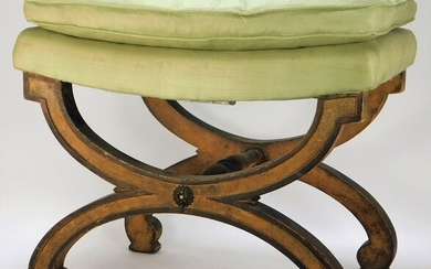 French Carved Wood Padded Foot Stool