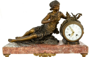 French Gilt Bronze and Roux Marble Shelf Clock