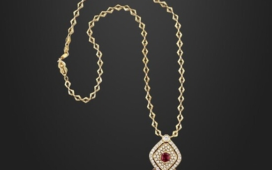 GOLD NECKLACE WITH RUBY, DIAMOND PENDANT