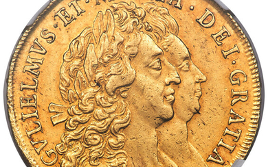 """Great Britain: , William & Mary gold """"Elephant & Castle"""" 5 Guineas 1692 AU53 NGC,..."""
