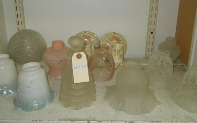 Group of Vintage Glass Lamp Shades & 2 Sconces.