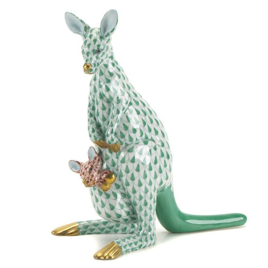"""Herend Green and Rust Fishnet """"Kangaroo and Baby"""" Porcelain Figurine"""