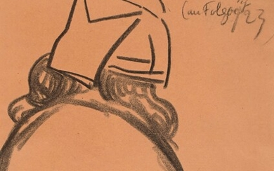 """Jeanne MALIVEL (1893-1926) """"Woman of Ouessant in Folgoët 1923"""" charcoal sbd 31x24"""