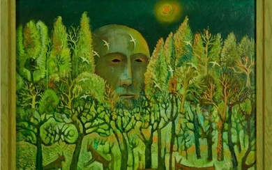 John W Farrington (b.1933) oil on board - The Giant in the Forest II, signed and dated '99, framed Provenance: Goldmark Gallery