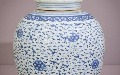 Large 18th Century Blue and White Ginger Jar