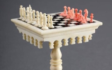 "Miniature ""chess table"", carved and turned bone, partially coloured, 19th..."
