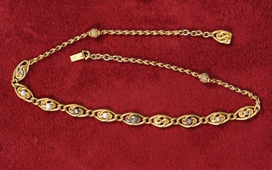 Necklace In 18K gold (750‰) adorned with brilliants and pearls...