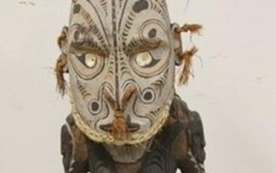 PAINTED ETHNIC WOOD CARVING