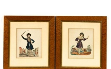 PAIR, 19TH CENTURY ENGLISH CHARACTER COLLAGES