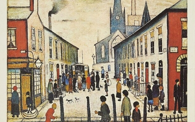 PROPERTY FROM THE ESTATES OF L.S. LOWRY AND THE LATE CAROL ANN LOWRY Laurence Stephen Lowry RBA RA, British 1887-1976- The Fever Van, 1972; offset lithograph in colours on wove, signed in pencil, from the edition of 700, printed by Bolton Fine Art...