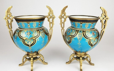 Pair of 19th C. French Jewelled Bronze Mounted Vases