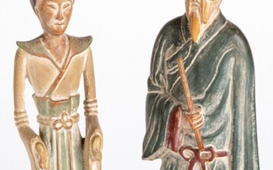 Pair of Chinese carved and painted figures