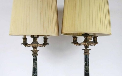 Pair of Empire Gilt-Bronze and Marble Candelabra