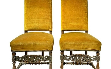 Pair of high chairs with high back, yellow upholstery