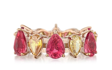 Pear-Shaped Pink Sapphire and Colored Diamond Eternity Band
