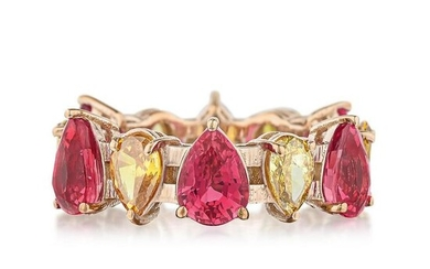 Pink Sapphire and Colored Diamond Eternity Band