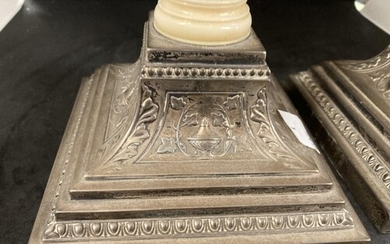 Silver: Pair of hallmarked silver and ivory desk candlestick...