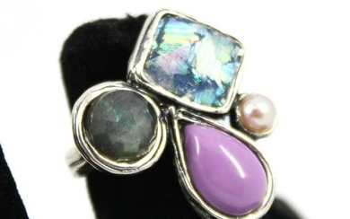Silver Ring with Colored Stones and Pearl