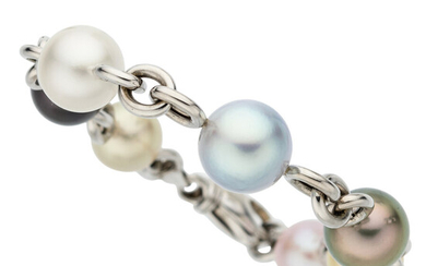 South Sea Cultured Pearl, White Gold Bracelet Pearl: South...
