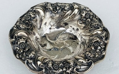 Sterling Silver Bowl with Ornate Floral Design